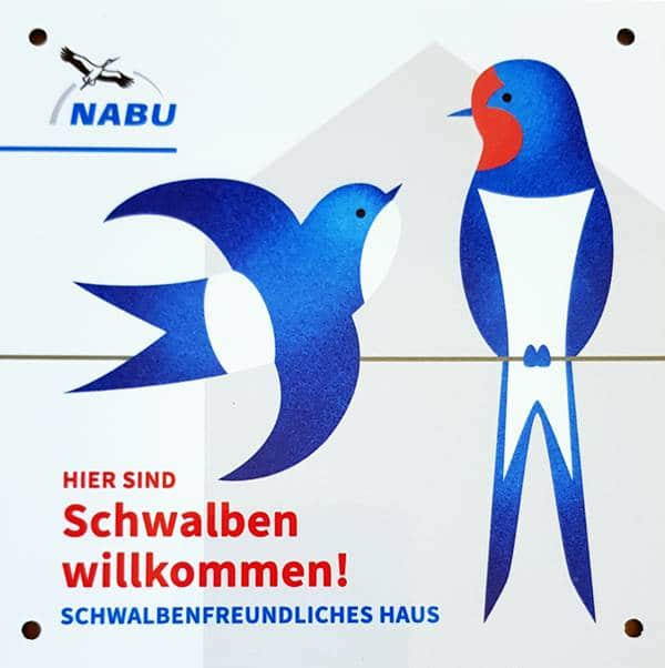 Schild zur Auszeichnung des NABU Schwalbenfreundliches Haus